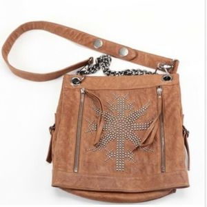 Thomas Wylde Studded Brown Leather Messenger Bag